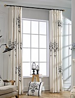 (Two Panels)Classic Pendant Lamp Pattern Embroidered Cotton Polyester Blend Energy Saving Curtain(Sheer Not Included)