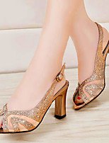 Women's Shoes Suede Chunky Heel Peep Toe / Comfort Sandals Office & Career / Party & Evening / Casual Silver / Gold