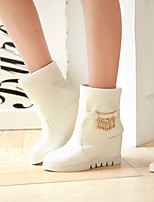 Women's Shoes Leatherette Wedge Heel Wedges / Round Toe Boots Outdoor / Office & Career / Casual Pink / White / Beige