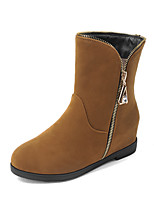 Women's Shoes Leatherette Low Heel Round Toe Boots Outdoor / Office & Career / Casual Black / Brown / Burgundy