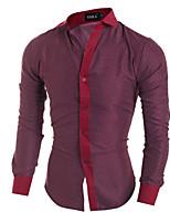 Men's Long Sleeve Shirt , Cotton Blend Casual Print