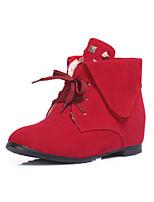 Zapatos de mujer - Tacón Plano - Botas Anfibias / Punta Redonda - Botas - Exterior / Oficina y Trabajo / Casual - Semicuero -Negro /