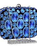 Women Polyester / Metal Minaudiere Clutch / Evening Bag - Blue / Gold / Black