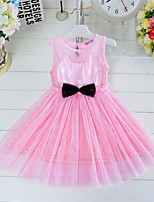 Girl's Black / Pink Dress , Bow Cotton / Mesh Summer