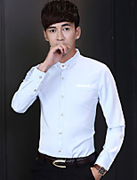 Men's Long Sleeve Shirt  Cotton Casual  Work Pure