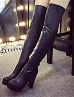 Chaussures Femme - Habillé / Décontracté / Soirée & Evénement - Noir - Gros Talon - Bout Arrondi / Bottes à la Mode - Bottes - Similicuir