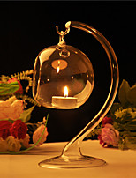 Hanging Crystal Clear Glass Candle Holder Tealight Candlestick Romantic Dinner Wedding Home Decoration with Stem