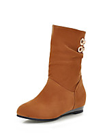 Women's Shoes Leatherette Wedge Heel Wedges / Round Toe Boots Outdoor / Office & Career / Casual Black / Brown / Yellow