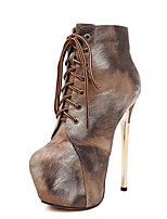 Women's Shoes Stiletto Heel  Round Toe Boots Dress Brown / Gray