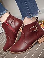 Women's Shoes Low Heel Comfort Boots Outdoor Black / Burgundy