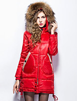 Women's Solid Red / Black Down Coat , Casual Hooded Long Sleeve