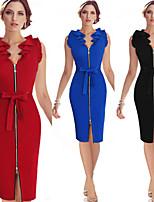 Vestidos ( Algodón Compuesto )- Cosecha / Sexy / Bodycon / Casual / Impresión / Fiesta Escote en V Sin Mangas para Mujer