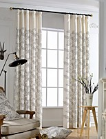 (Two Panels)Modern Leaf Embroidered Cotton Polyester Blend Energy Saving Curtain(Sheer Not Included)