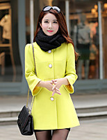 Women's Solid Pink  Yellow  Beige Coat  Casual  Work  Sleeve Others