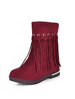 Calçados Femininos - Botas - Arrendondado - Salto Baixo - Preto / Vermelho / Bege - Courino - Casual
