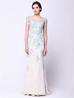저녁 정장파티 드레스 - 스카이 블루 트럼펫/멀메이드 쿼트 트레인 스쿱 레이스