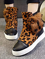 Women's Shoes New Style Wedge Heel Round Toe Warm Comfort Boots Casaul Black/Leopard