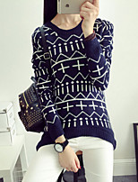 Women's Sell Well Print Loose Pullover , Casual Long Sleeve