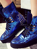 Women's Shoes Leather / Synthetic Flat Heel Cowboy / Western Boots / Fashion Boots Party & Evening /Casual Blue / Silver