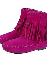 Calçados Femininos - Botas - Botas da Moda - Rasteiro - Marrom / Amarelo / Rosa / Bege - Flanelado - Escritório & Trabalho / Social