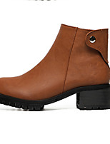 Women's Shoes Leatherette Chunky Heel Round Toe Boots Casual Black / Brown