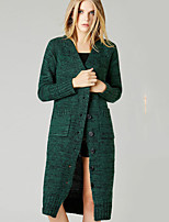 Women's Solid Green / Gray Cardigan , Vintage / Sexy / Casual / Print / Cute Long Sleeve
