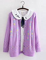Women's Color Block Purple / Beige Cardigan , Casual Long Sleeve