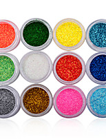 12 Colors 3D Glitter Acrylic Nail Art Salon Sequins Powder Stickers Tips DIY