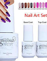 yemannvyou®3pcs (revestimento 5ml, 1pcs unha polonês + 1pcs base + 1pcs top coat) de metal de cor uv gel no.13-24 polonês