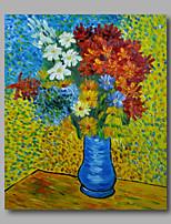 prêt à accrocher étiré peinture à l'huile peinte à la main toile de Van Gogh Vase avec des marguerites et repro anémones un panneau