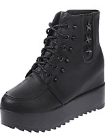 Women's Shoes Leather Flat Heel Combat Boots Boots Party & Evening / Dress / Casual Black / Gray