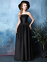 Formal Evening Dress - Black A-line Strapless Floor-length Satin Chiffon