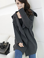 Women's Solid Brown / Beige / Gray Cardigan , Vintage / Casual Long Sleeve