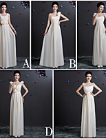 Floor-length Chiffon Bridesmaid Dress - Champagne Sheath/Column One Shoulder