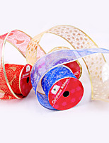 Christmas Tree Ornaments  Red Golden Han Edition Printed Christmas Tree Decoration Ribbon