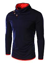 Herren Freizeit T-Shirt  -  Einfarbig Lang Baumwollmischung