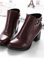 Chaussures Femme - Décontracté - Noir / Bordeaux - Gros Talon - Bout Arrondi - Bottes - Similicuir