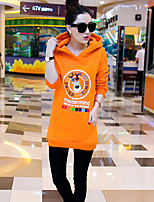 Women's Character / Letter / Patchwork Black / Orange Hoodies , Casual Hooded Long Sleeve