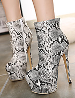 Women's Shoes Stiletto Heel Combat Boots Boots Casual Brown / White