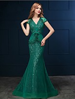 Vestido - Verde Festa Formal Sereia Decote em V Sweep / Brush Train Renda
