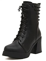 Women's Shoes Chunky Heel Round Toe / Closed Toe Boots Office & Career / Dress / Casual Black