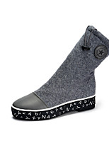 Women's Shoes Fabric Low Heel Comfort Boots Outdoor Black / Gray