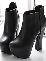 Women's Shoes  Chunky Heel Heels / Bootie / Comfort / Round Toe / Closed Toe Boots Casual Black / White