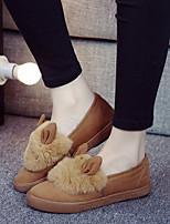 Women's Shoes Fleece Flat Heel Comfort / Round Toe Loafers / Slip-on Outdoor / Casual Yellow / Gray / Khaki