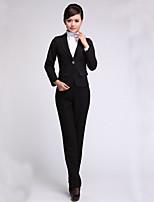 Women's Solid Black Blazer , Sexy / Bodycon / Work Off Shoulder Long Sleeve