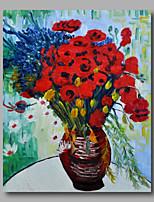 prêt à accrocher étiré peinture à l'huile peinte à la main toile de Van Gogh vase repro de marguerites et de coquelicots un panneau