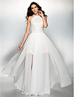 Formal Evening Dress - Ivory A-line Jewel Floor-length Chiffon / Lace