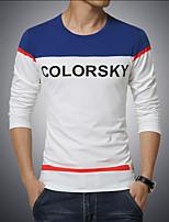 Men's Fashion Round Collar Letter Spell Print Slim Fit Long-Sleeve T-Shirt