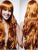 Europe And The United States Wig Female Golden Brown Long Curly Hair Synthetic Wigs Hot Sale.
