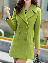 Women's Solid Red / Green / Gray Trench Coat , Casual Long Sleeve Tweed